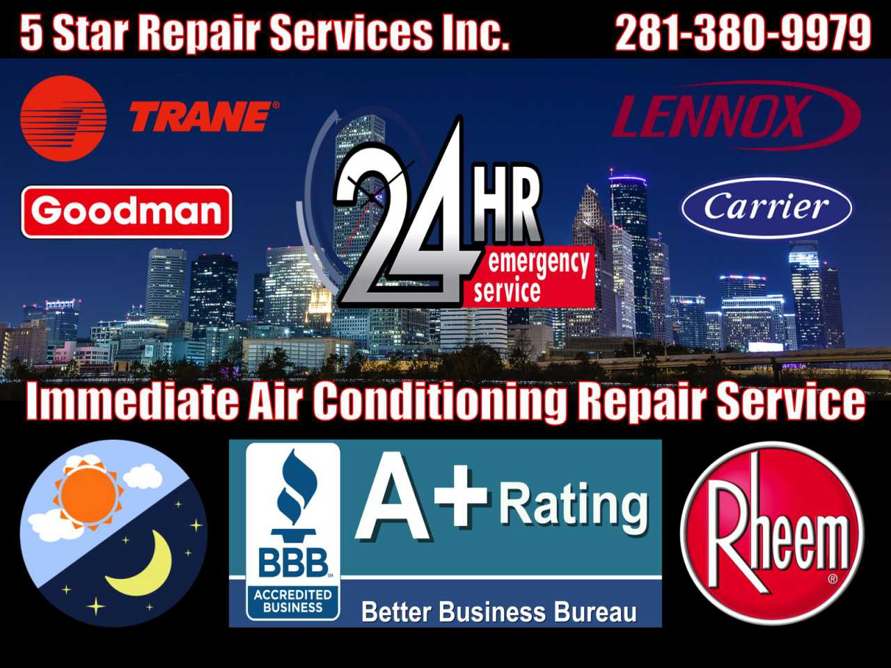 24 Hour Emergency Air Conditioning AC HVAC Furnace Condition Repair Service Cypress 77410 77429 77433 77575 Central Cooling Unit System Duct Cleaning Maintenance